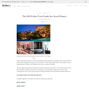 The 2015 Forbes Travel Guide Star Award Winners