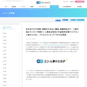 『エン 人事のミカタ』アクセスランキング TOP10 2014年8月度