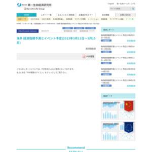 海外 経済指標予測とイベント予定(2013年3月11日~3月15日)
