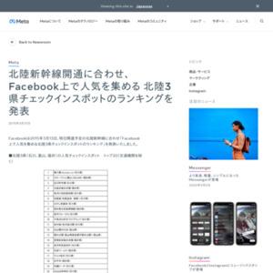 Facebook上で人気を集める 北陸3県チェックインスポットのランキング
