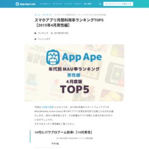 2015年4月版:スマホアプリ年代別MAU率ランキングTOP5[男性編]
