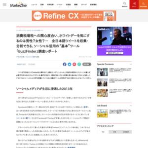 """消費税増税への関心度合い、ホワイトデーを気にするのは男性?女性?… 全日本語ツイートを収集・分析できる、ソーシャル活用の""""基本""""ツール「BuzzFinder」調査レポート"""
