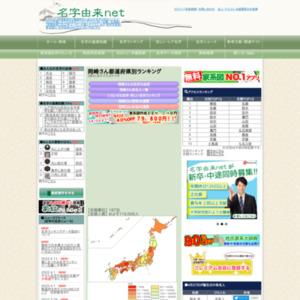 『岡崎』さんの都道府県別名字ランキング