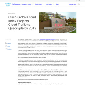 Cisco Global Cloud Index Projects Cloud Traffic to Quadruple by 2019