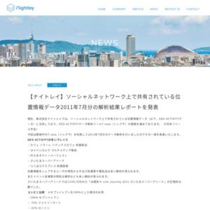 ソーシャルネットワーク上で共有されている位置情報データ2011年7月分の解析結果レポート