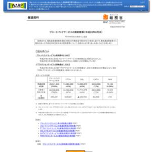 ブロードバンドサービスの契約数等(平成20年6月末)
