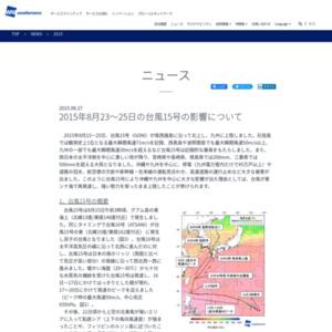 2015年8月23~25日の台風15号の影響