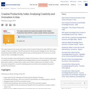 Creative Productivity Index: Analysing Creativity and Innovation in Asia