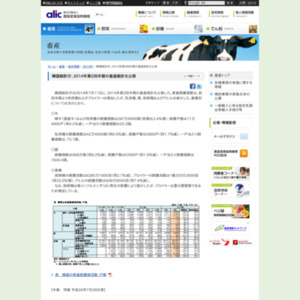 韓国統計庁、2014年第2四半期の畜産統計を公表