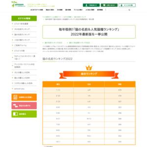 猫の名前ランキング2011・猫の人気品種ランキング2011