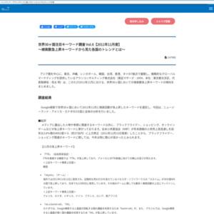 世界30ヶ国注目キーワード調査 Vol.6【2011年11月度】