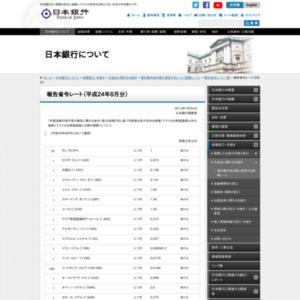 報告省令レート(8月分)