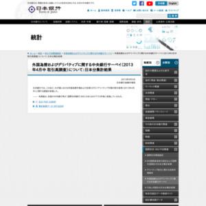 外国為替およびデリバティブに関する中央銀行サーベイ(2013年4月中 取引高調査):日本分集計結果