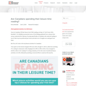 Are Canadians spending their leisure time reading?