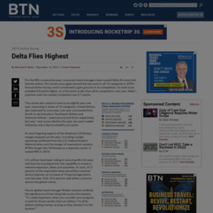Delta Flies Highest In BTN's 18th Annual Airline Survey