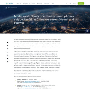 Media alert: Nearly one-third of smart phones shipped in Q2 in China were from Xiaomi and Huawei