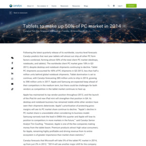 Tablets to make up 50% of PC market in 2014