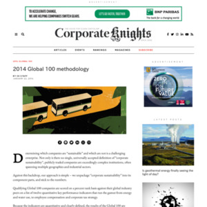 2014 Global 100 Most Sustainable Corporations in the World