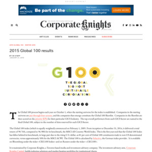 2015 Global 100 Most Sustainable Corporations in the World(2015年 世界で最も持続可能な100社)