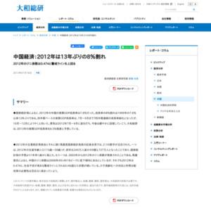 中国経済:2012年は13年ぶりの8%割れ
