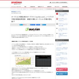 オークション相場比較のオークファン(aucfan.com)、ノートブック市場の調査結果発表 値動きの裏にオークション市場の落札数!?