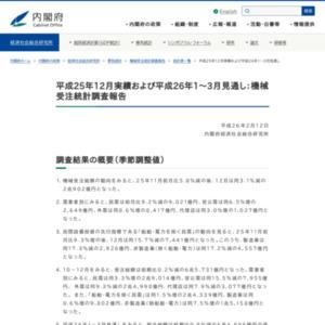 機械受注統計調査報告(平成25年12月実績および平成26年1~3月見通し)