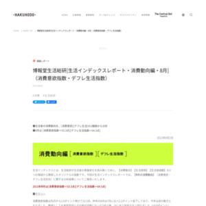 [生活インデックスレポート・消費動向編・2013年8月](消費意欲指数・デフレ生活指数)
