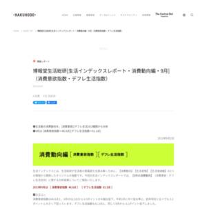 博報堂生活総研[生活インデックスレポート・消費動向編・2013年9月](消費意欲指数・デフレ生活指数)