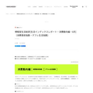 [生活インデックスレポート・消費動向編・6月](消費意欲指数・デフレ生活指数)