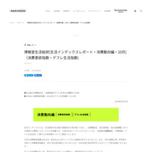 [生活インデックスレポート・消費動向編・10月](消費意欲指数・デフレ生活指数)