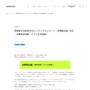博報堂生活総研[生活インデックスレポート・消費動向編・2015年8月](消費意欲指数・デフレ生活指数)