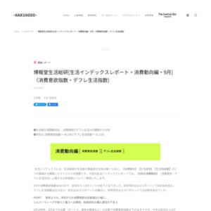 [生活インデックスレポート・消費動向編・2015年9月](消費意欲指数・デフレ生活指数)