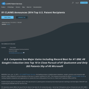 IFI CLAIMS Announces 2014 Top U.S. Patent Recipients