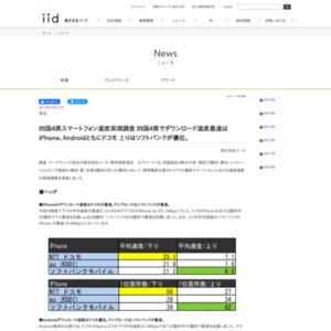 四国4県スマートフォン速度実測調査