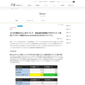 2014年関東住みたい街ランキング 通信速度実測調査
