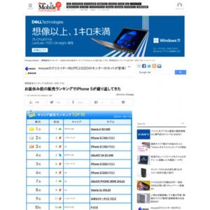 スマートフォン販売ランキング(2013年8月5日~8月11日)