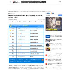 スマートフォン販売ランキング(2013年8月12日~8月18日)