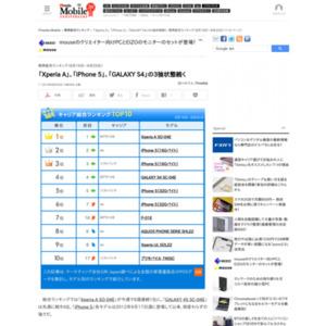 スマートフォン販売ランキング(2013年8月19日~8月25日)