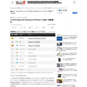 スマートフォン販売ランキング(2017年6月12日~6月18日)