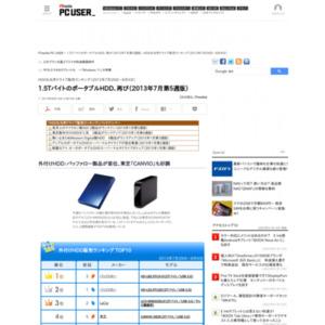 HDD&光学ドライブ販売ランキング(2013年7月29日~8月4日)