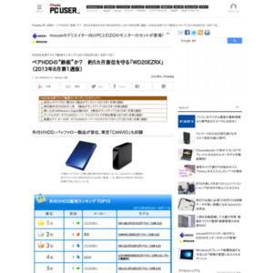 HDD&光学ドライブ販売ランキング(2013年8月5日~8月11日)