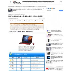 PC販売ランキング(2013年8月19日~8月25日)
