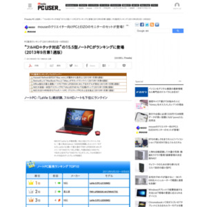 PC販売ランキング(2013年9月2日~9月8日)