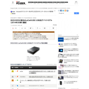 HDD&光学ドライブ販売ランキング(2014年3月3日~3月9日)