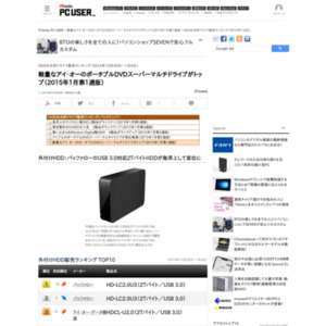 HDD&光学ドライブ販売ランキング(2014年12月29日~1月4日)