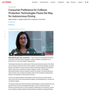 Consumer Preference for Collision Protection Technologies Paves the Way for Autonomous Driving