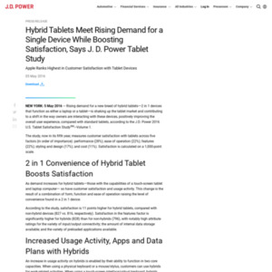 Hybrid Tablets Meet Rising Demand for a Single Device While Boosting Satisfaction, Says J. D. Power Tablet Study
