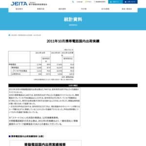 移動電話国内出荷統計(2011年10月分)
