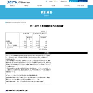移動電話国内出荷統計(2011年11月分)