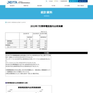 移動電話国内出荷統計(2013年7月分)